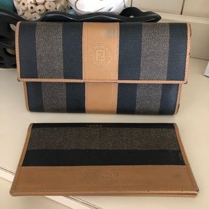 Fendi Vintage Pequin Wallet and Checkbook cover